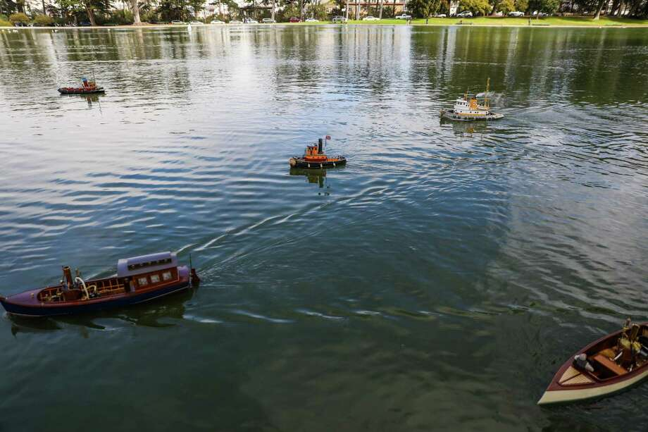 Boats make their way around Spreckels Lake during the Model Boats on Parade event. Photo: Gabrielle Lurie / The Chronicle / ONLINE_YES