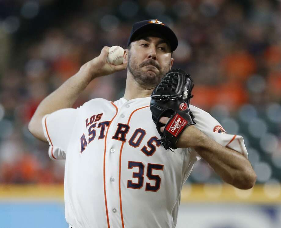 Justin Verlander struck out the first five batters he faced Sunday and finished with 11 K's in improving to 16-9. His 269 strikeouts for the season match his personal high. Photo: Karen Warren, Houston Chronicle / Staff Photographer / © 2018 Houston Chronicle