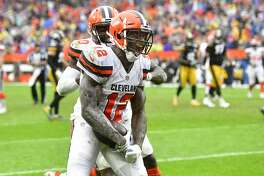 Cleveland Browns receiver Josh Gordon (12) celebrates his touchdown reception during an NFL football game against the Pittsburgh Steelers, Sunday, Sept. 9, 2018, in Cleveland. The Browns and the Steelers tied at 21-21. (AP Photo/David Richard)