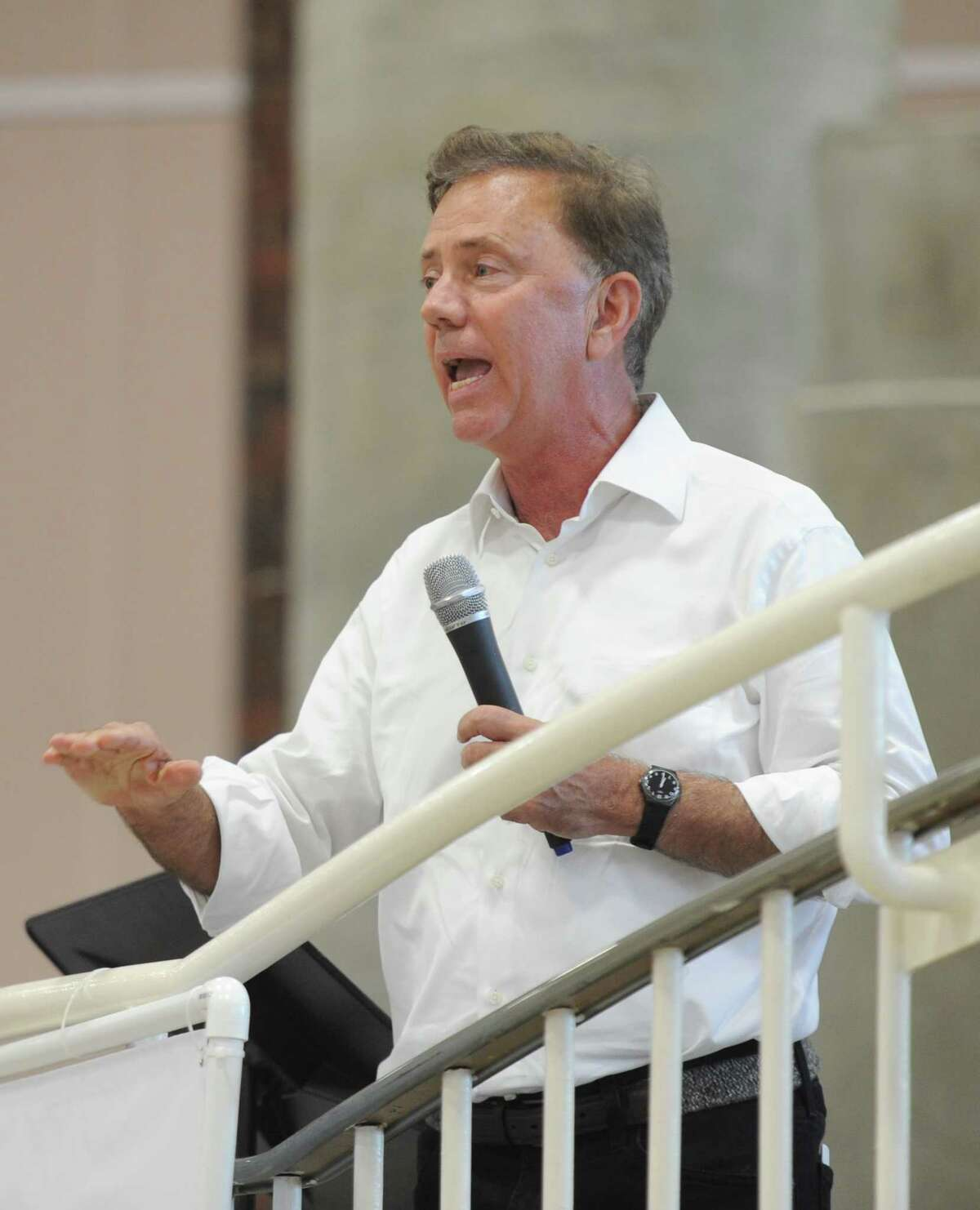 Democratic gubernatorial candidate Ned Lamont speaks at the Greenwich Democratic Town Committee Cookout and Campaign Rally at Greenwich High School in Greenwich, Conn. Sunday, Sept. 16, 2018. In attendance was gubernatorial candidate Ned Lamont, U.S. Rep. Jim Himes, U.S. Senators Chris Murphy and Richard Blumenthal, State Sen. candidate Alex Bergstein, and State Rep. candidates Laura Kostin and Steve Meskers.
