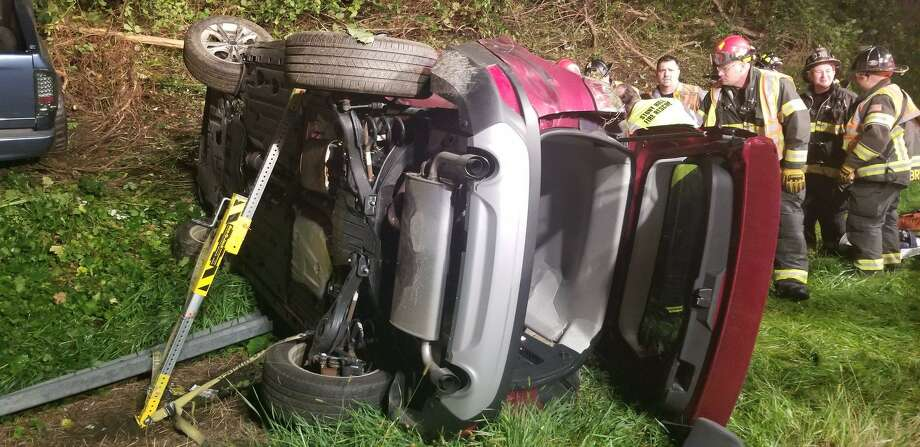 On Saturday, Sept. 15, 2018, Stony Hill and Bethel Fire responded to a two-vehicle crash on I-84 East. Upon arrival, first responders found one vehicle on its side with one victim entrapped. Due to the severity of the crash, the Danbury Fire Department was dispatched with its rescue equipment to assist. All units worked together to stabilize the car with Res-Q-Jacks and then remove the victim through the windshield. Stony Hill EMS transported the patient, who was in stable condition. Photo: Danbury Fire Department /Facebook