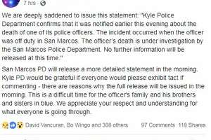 The officer's death was announced in a Facebook post late Sunday from the Kyle Police Department.