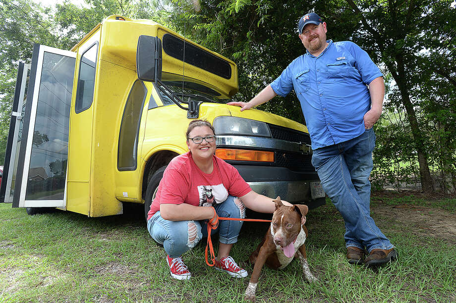 Candice Wooley and Cody Stewart drive as a team for Beaumont Pets Alive, transporting animals in need of new  homes, like Oscar, to no kill shelters across the country. They have logged tens of thousands of miles driving cats and dogs that likely would end up being euthanized at the Beaumont City Shelter to their new homes. Friday, September 07, 2018 Kim Brent/The Enterprise Photo: Kim Brent/The Enterprise