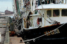 While no local shrimper lost their boats to Tropical Storm Harvey, some were forced to live on their boats while home repairs were made. A row of shrimp boats are docked near downtown Port Arthur last week. Photo taken Friday, 9/7/18