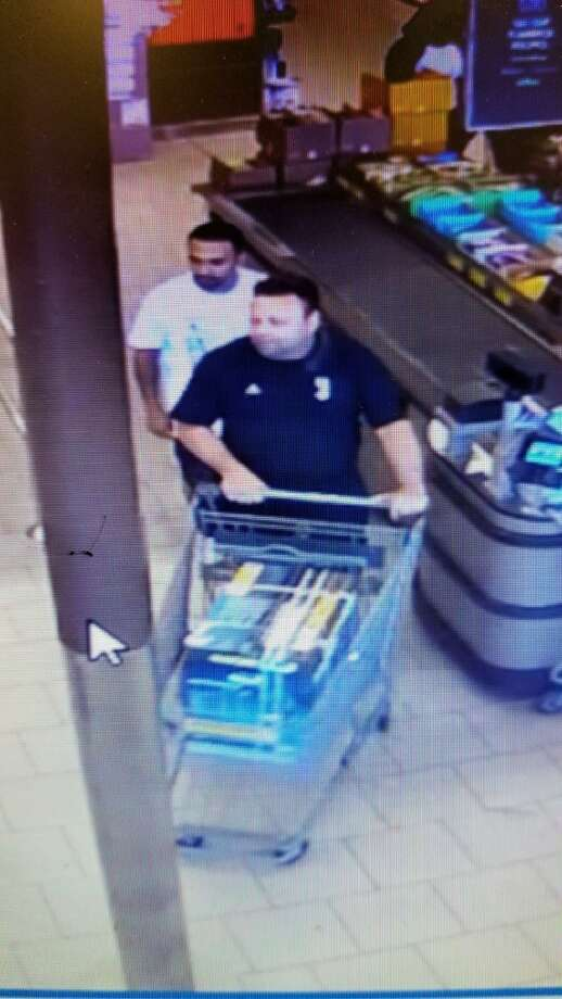Hamden police are looking to identify the men in this photo. They are accused of stealing a generator from the Aldi Supermarket store. Photo: Courtesy Of Hamden PD
