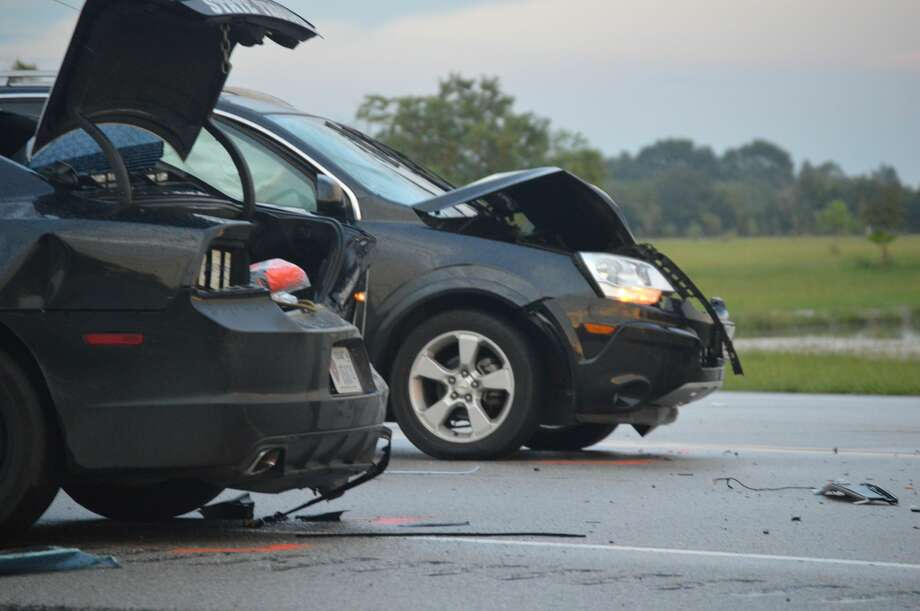 Photo provided by Eric Williams Sunday, September 16, a DPS trooper vehicle was rear-ended by a 2014 Chevrolet passenger vehicle. Photo: Photos By Eric Williams