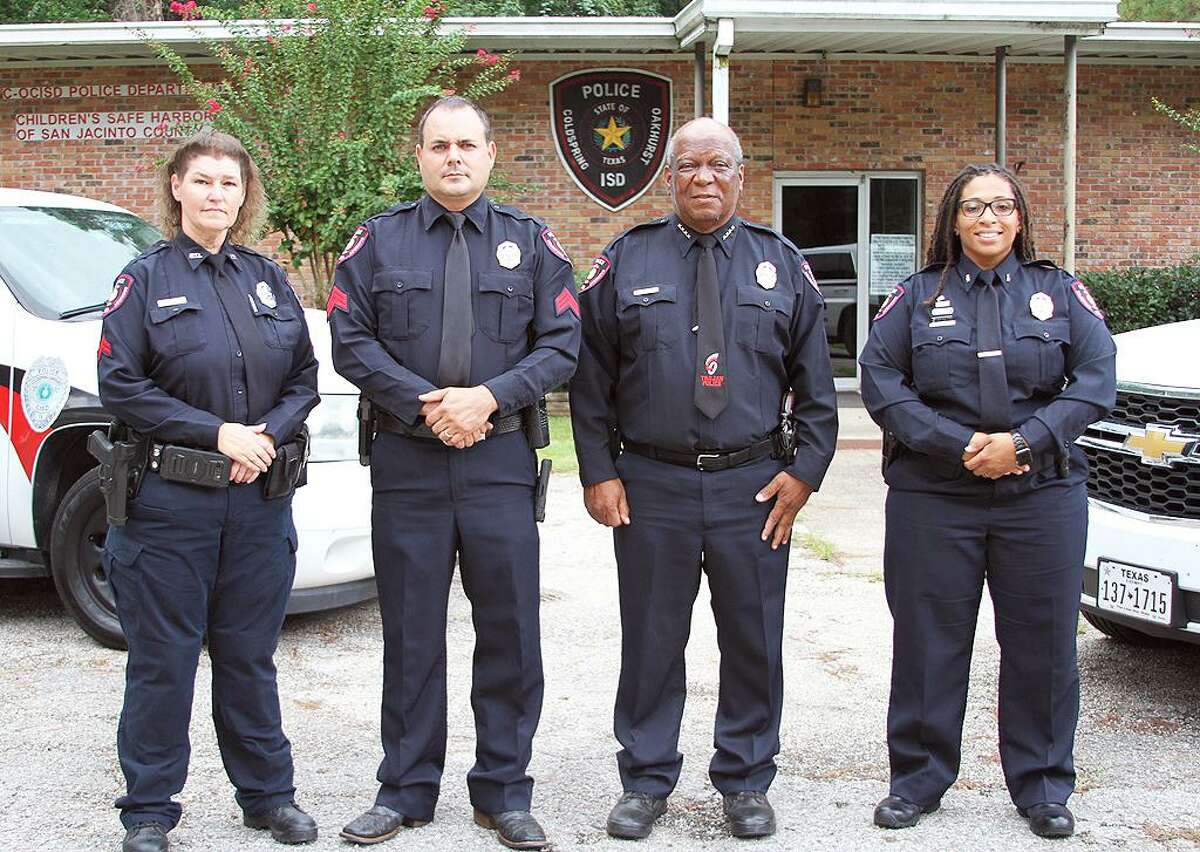 """Officer Lydia Richard was promoted to Lieutenant and will now be second in command; Officer Charles ?""""Chuck?"""" Cotton was promoted to Sergeant and will be in charge of the part-time officers; and Officer Rae Phillips was promoted to Corporal. They are joined by Chief Roosevelt Joseph."""