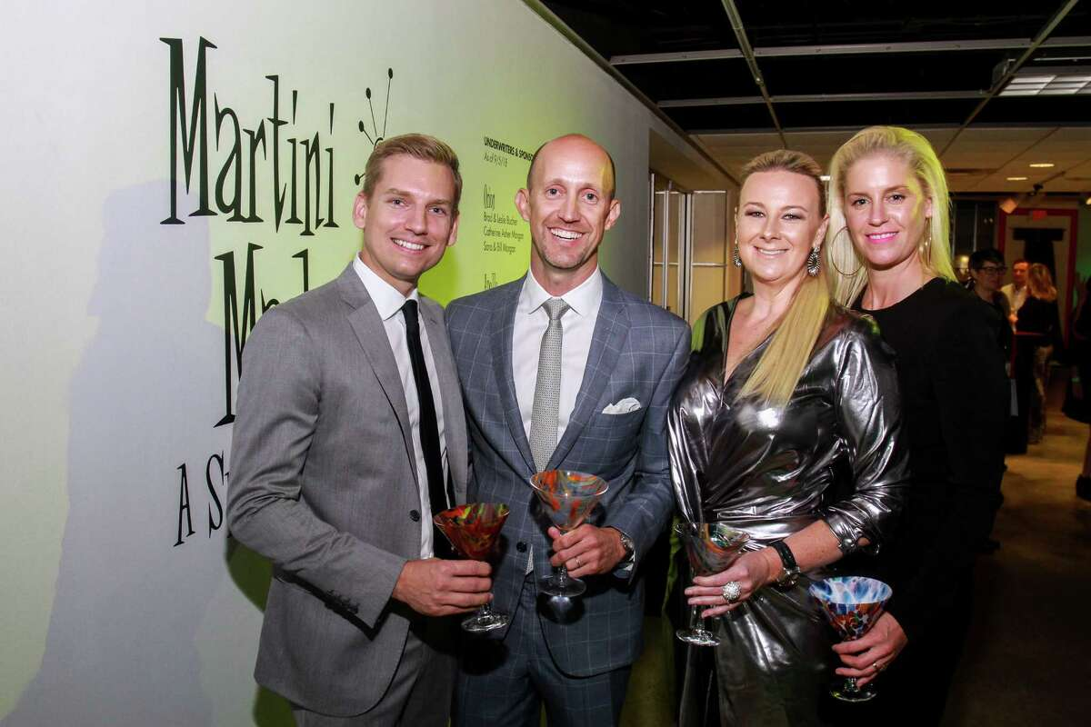 Chairs Kyle Dutton, from left, Mike Mahlstedt, Libby Cagle and Lauren Taft at Houston Center for Contemporary Craft's Martini Madness.