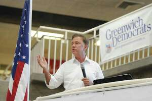 Democratic gubernatorial candidate Ned Lamont speaks at the Greenwich Democratic Town Committee Cookout and Campaign Rally at Greenwich High School on Sunday. In attendance were gubernatorial candidate Ned Lamont, Rep. Jim Himes, Sens/ Chris Murphy and Richard Blumenthal, state Sen. candidate Alex Bergstein, and state Rep. candidates Laura Kostin and Steve Meskers.