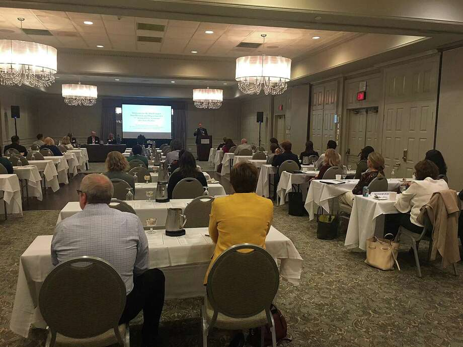 Nonprofit organization representatives listen as Boehringer Ingelheim employees offer advice duirng BI's annual Free Community Seminar held Thursday, Sept. 13, 2018, at Ethan Allen Hotel in Danbury, Conn. Photo: Contributed Photo / Hearst Connecticut Media / The News-Times Contributed