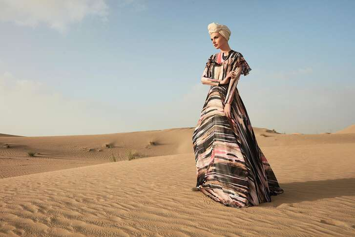 RASIT BAGZIBAGLI (b. 1985, United Kingdom) for MODANISA (est. 2011, Turkey) �Desert Dream� ensemble (evening gown, shawl, and turban), Spring/Summer 2018 Polyester chiffon, Courtesy of RASIT BAGZIBAGLI and MODANISA