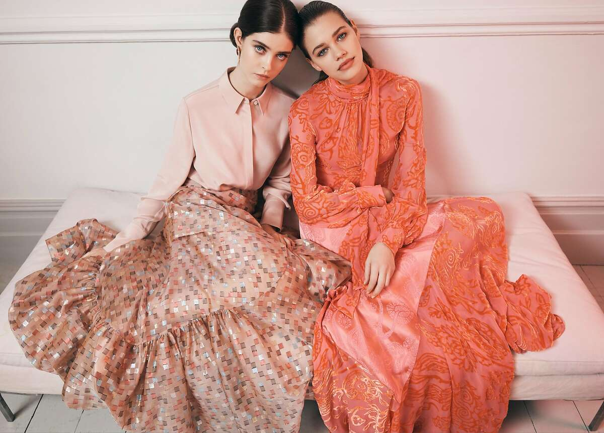 left to right: LAYEUR shirt, PETER PILOTTO skirt, MONICA SORDO earrings December 2017, Silk, silk-and-polyester blend; silk lining. Worn by Moya Palk at Select agency PETER PILOTTO shirt and skirt December 2017 Silk-and-viscose blend; silk lining Worn by Isabell Andreeva at Premier Models