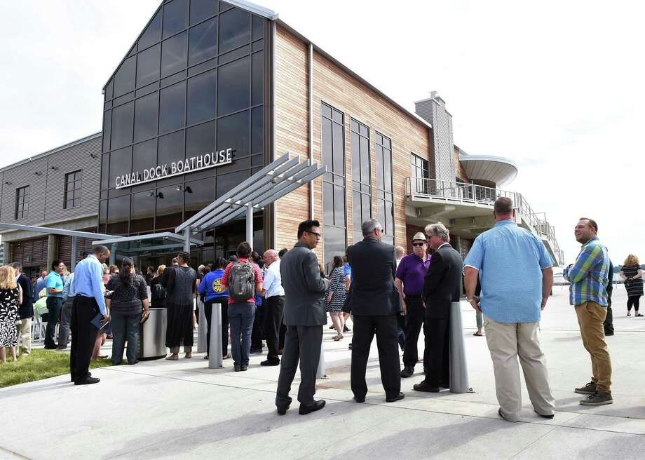 People mill about after the ribbon cutting for the Canal Dock Boathouse in New Haven on September 17, 2018. Photo: Arnold Gold, Hearst Connecticut Media / New Haven Register