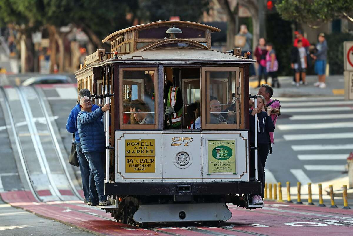 Cable Car on Powell Street in San Francisco, Calif., on Thursday, November 2, 2017. A city audit for fiscal 2018 found that conductors were failing to collect fares worth an average of nearly $18 per ride.
