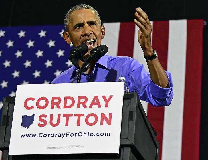 FILE - In this Sept. 13, 2018, photo, former President Barack Obama speaks as he campaigns in support of Ohio gubernatorial candidate Richard Cordray in Cleveland. Another political test in the coming week for Obama as the former president tries to boost Democratic candidates and party enthusiasm without also motivating President Donald Trump's supporters as the November elections near. (AP Photo/David Dermer)