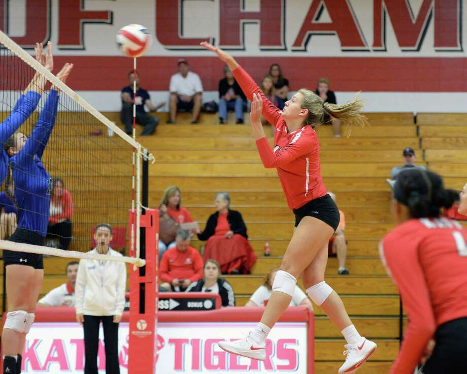 Amanda Meuth (15) of Katy attempts a kill shot in the first set of a high school volleyball match between the Katy Tigers and the New Caney Eagles during the 2018 Katy / Cy-Fair Volleyball Classic on August 9, 2018 at Katy High School, Katy, TX. Photo: Craig Moseley, Staff / Staff Photographer / ©2018 Houston Chronicle