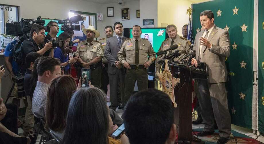 District Attorney Isidro Alaniz responds to questions during a news conference Monday about the killings of four sex workers in Webb County. Border Patrol agent Juan David Ortiz, 35, has been accused of killing the women over a two-week period. Photo: Danny Zaragoza