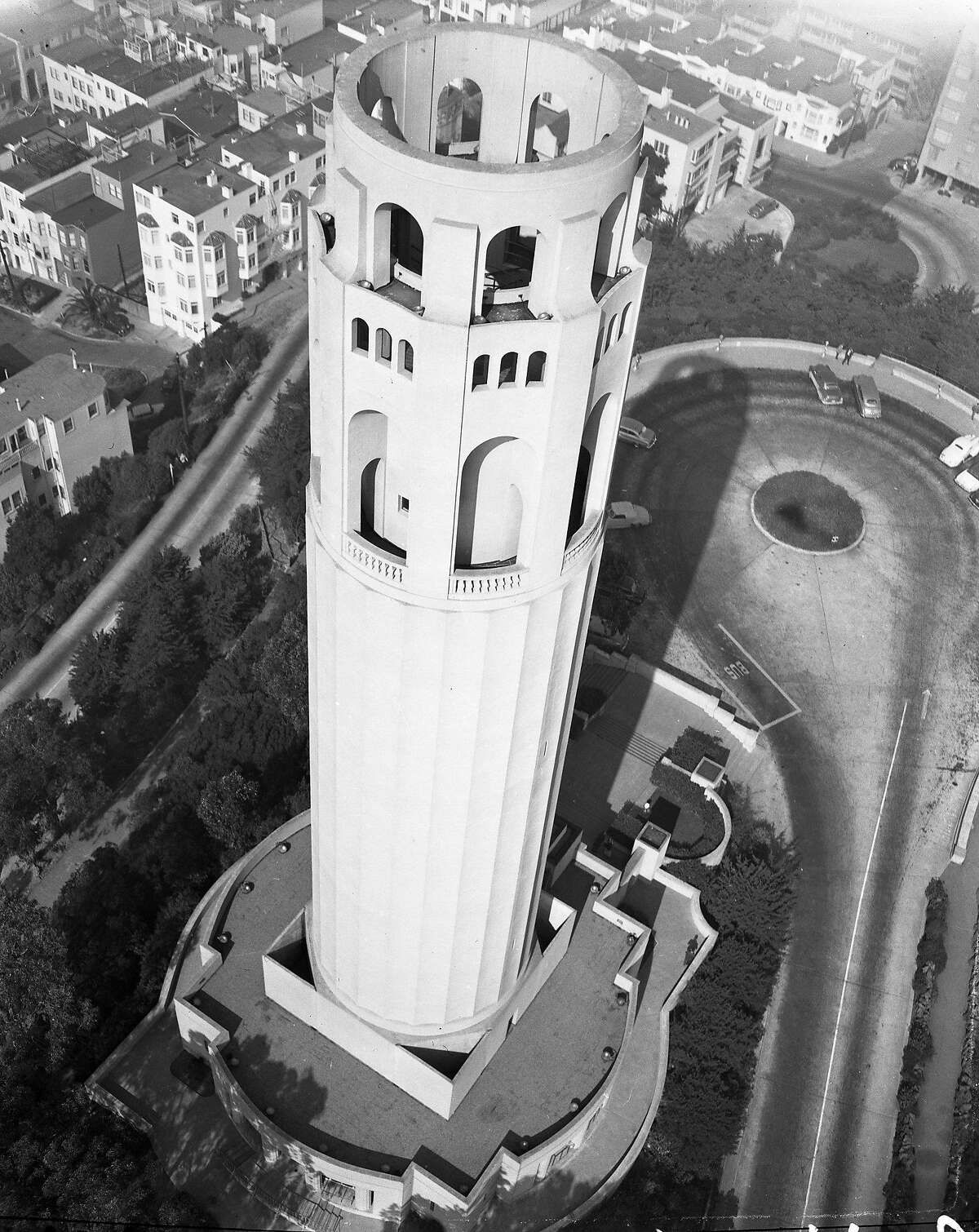 Exterior view of Coit Tower , March 2, 1950