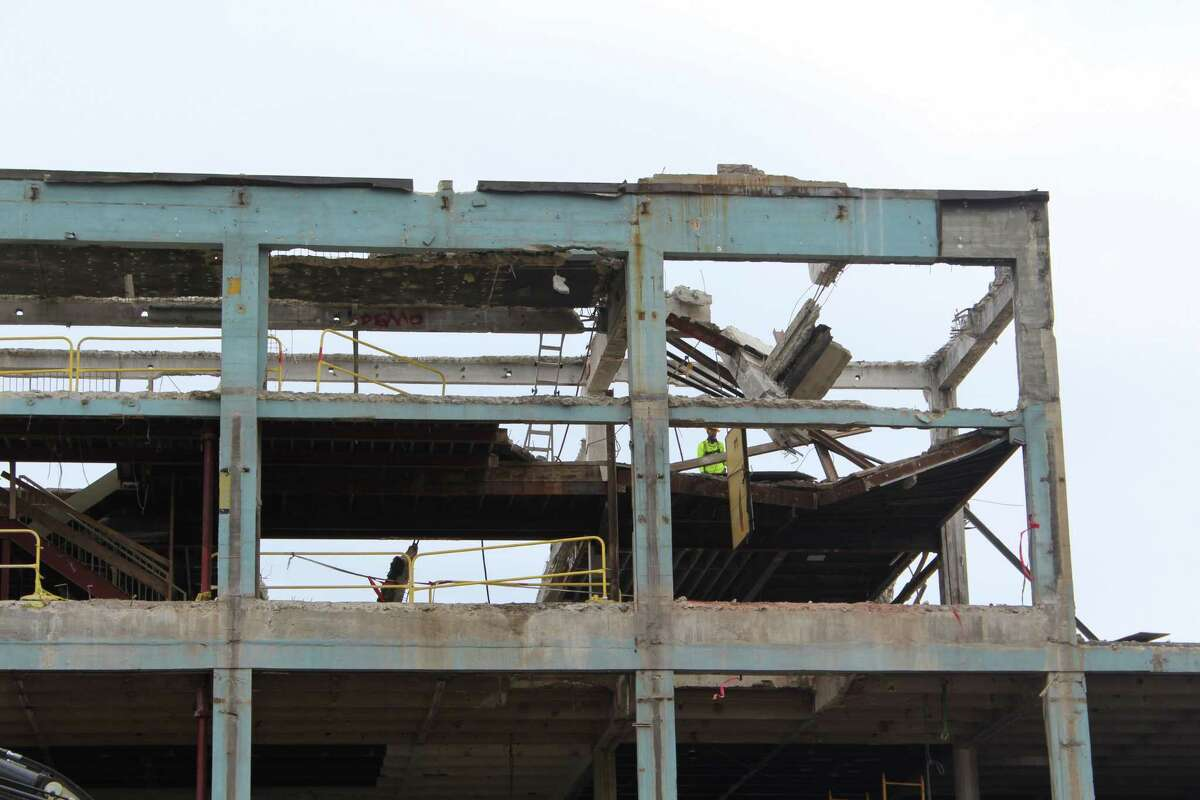 A roof collapsed during a demolition at 860 Canal Street in Stamford on Monday, Sept. 17., injuring two workers.