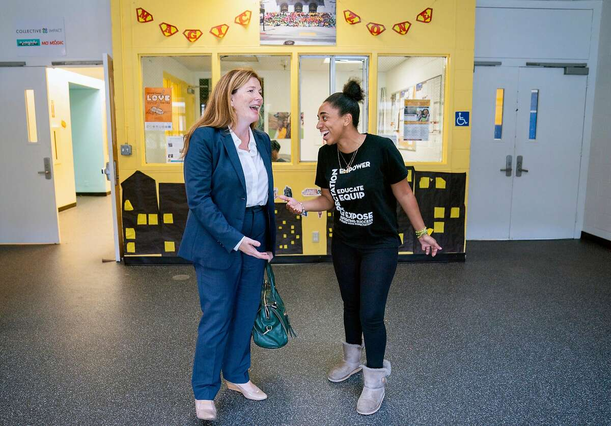 From left: Suzy Loftus and Morgan Tucker during the Community Safety Initiative program at the Ella Hill Hutch Community Center, Friday, Sept. 14, 2018, in San Francisco, Calif.