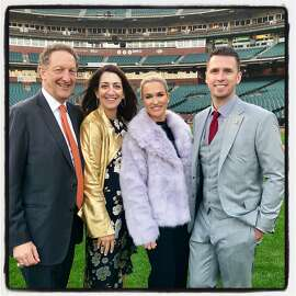 Giants CEO Larry Baer (left) with his wife, Pam Baer and Kristen and Buster Posey at the BP28 Gala. Sept. 13, 2018.