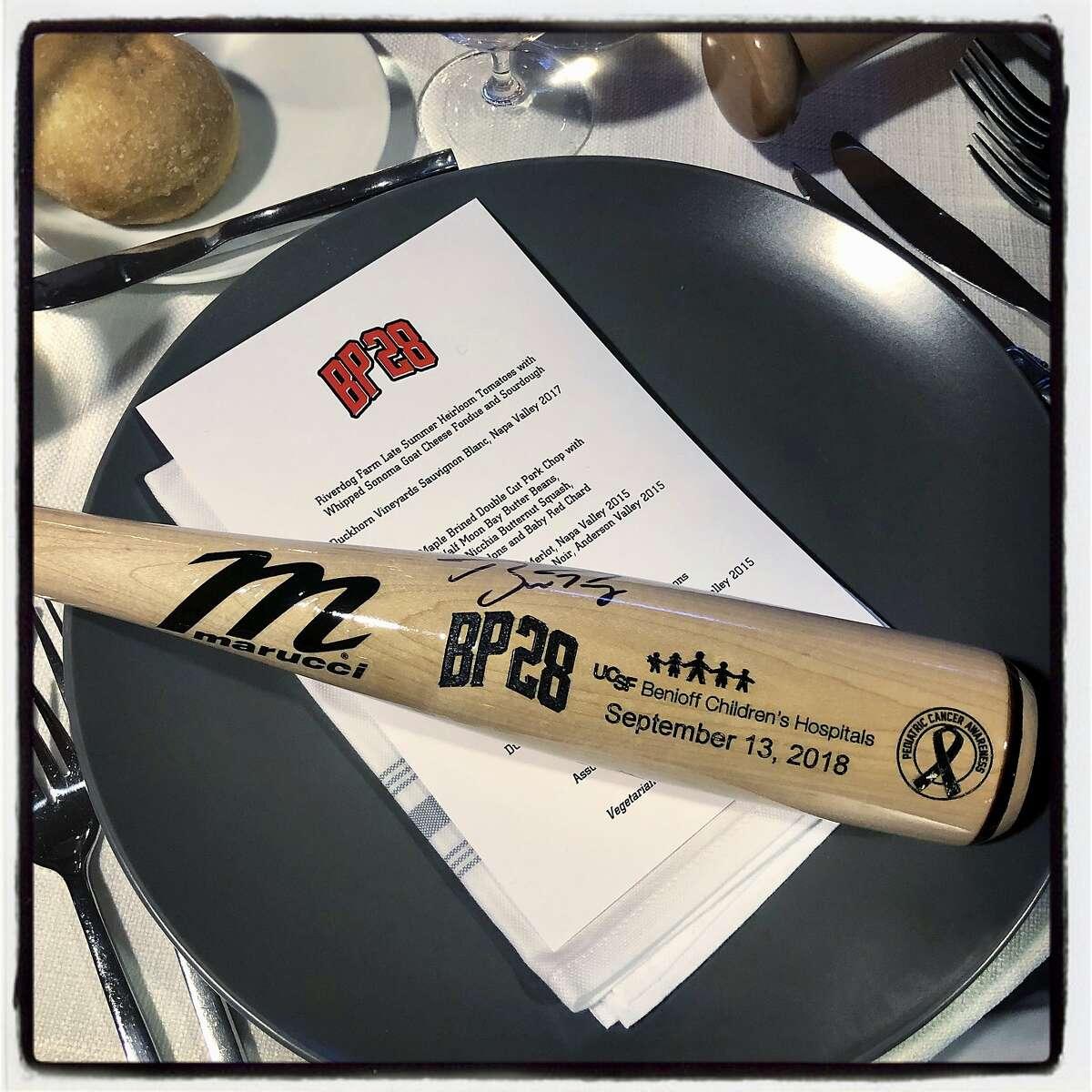 Baseball-theme table settings at the BP28 Gala. Sept. 13, 2018.