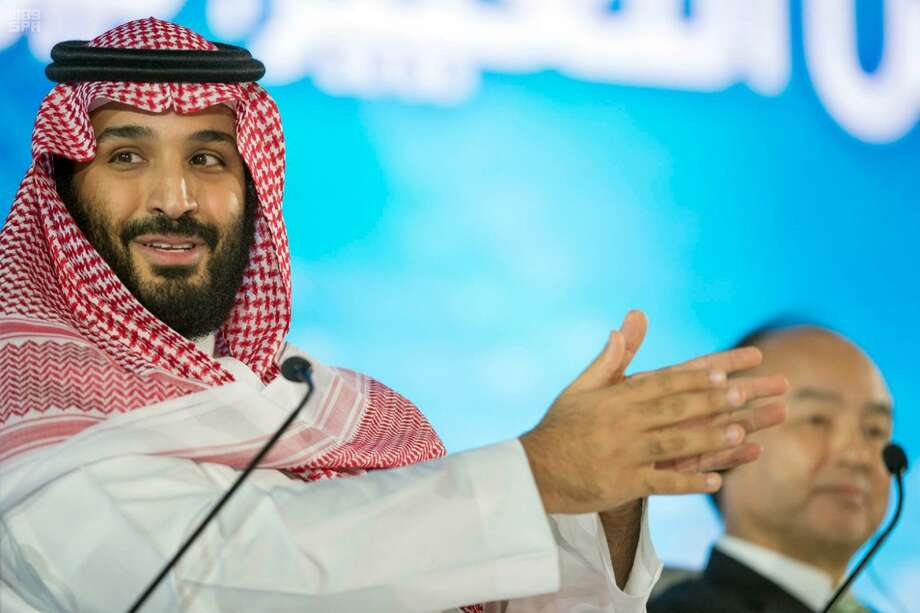 In this Tuesday, Oct. 24, 2017, file photo released by the state-run Saudi Press Agency, Saudi Crown Prince Mohammed bin Salman speaks at the opening ceremony of Future Investment Initiative Conference in Riyadh, Saudi Arabia. Saudi Arabia's sovereign wealth fund invested over $1 billion on Monday, Sept. 17, 2018, in an American electric car manufacturer just weeks after Tesla CEO Elon Musk earlier claimed the kingdom would help his own firm go private. Photo: Untitled /Associated Press / Saudi Press Agency