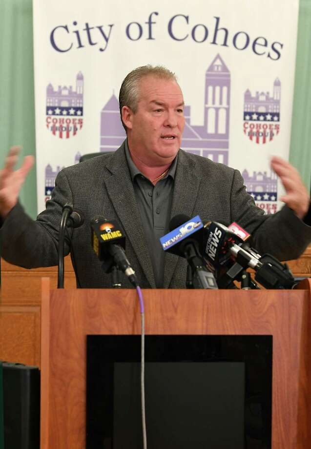 Cohoes Mayor Shawn Morse holds a press conference to speak out about the latest allegations and what's been going on with his family's life at Cohoes City Hall on Monday, Sept. 17, 2018 in Cohoes, N.Y. Morse said he doesn't plan on stepping down from his job. (Lori Van Buren/Times Union) Photo: Lori Van Buren, Albany Times Union / 20044869A