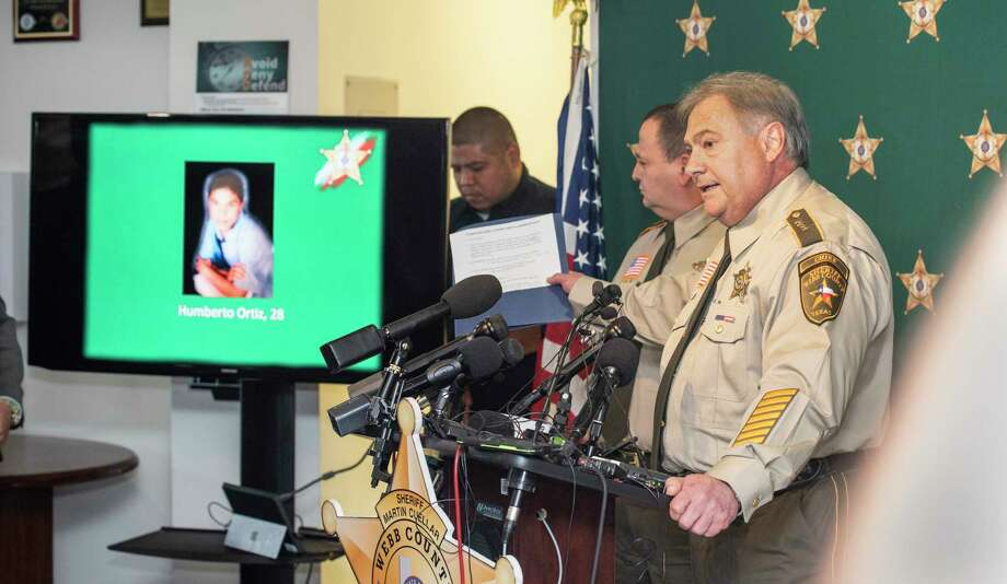 Webb County Sheriff's Chief Deputy Federico Garza displays the images of Juan David Ortiz's victims on Monday, Sept. 17, 2018, during a press conference at the Webb County Sheriff's Office. Photo: Danny Zaragoza, Laredo Morning Times