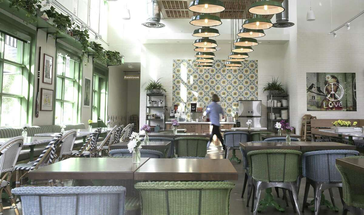 The farmhouse inspired decor of Flower Child, a new Uptown restaurant.