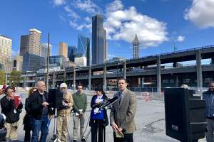 Brian Nielsen, administrator of the Alaskan Way Viaduct Replacement Program, speaks to reporters on Monday, Sept. 17, about details of the viaduct's final closure and the tunnel opening. Nielsen said the viaduct will close on Jan. 11, about three weeks before the tunnel will open.
