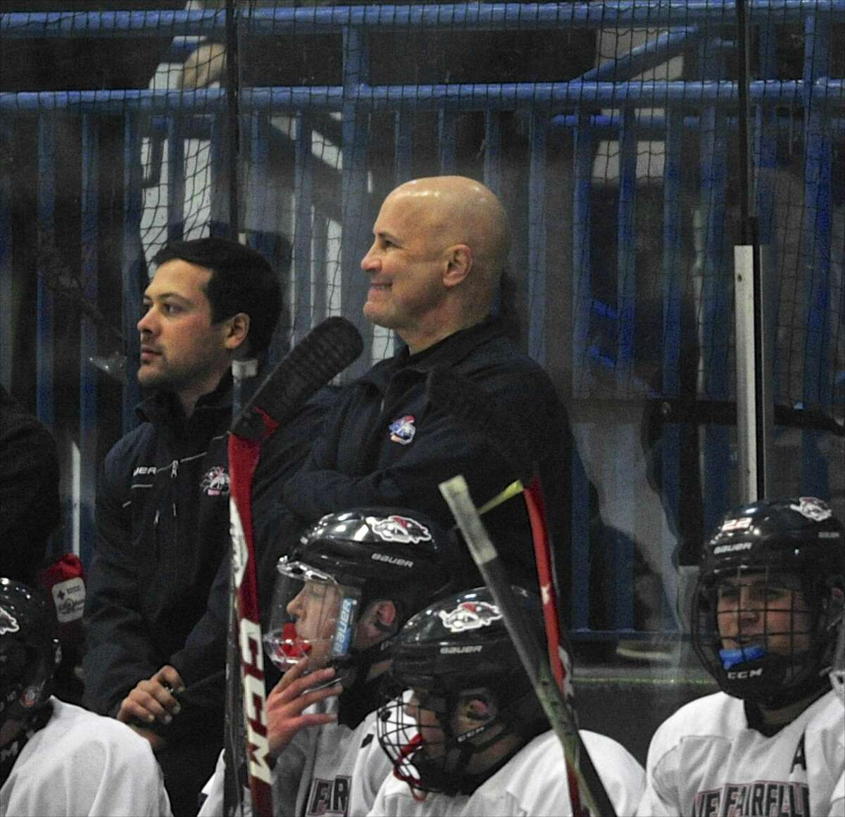 Larry Vieira, seen here coaching New Fairfield/Immaculate in 2015, was named the new Notre Dame-West Haven boys hockey coach on Monday.