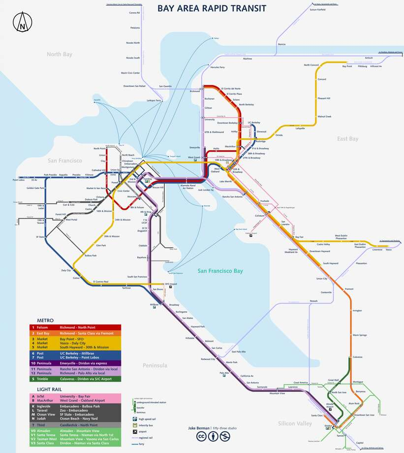 A map shows how Jacob Berman would redesign Bay Area transit in the future, if given the chance and funds. Click through the slideshow to see how it looks close up. Photo: Jacob Berman / Fiftythree.studio