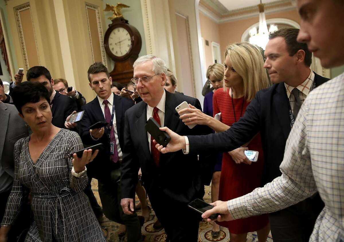 WASHINGTON, DC - SEPTEMBER 17: Senate Majority Leader Mitch McConnell (R-KY) answers questions from reporters about Supreme Court nominee Brett Kavanaugh on Capitol Hill September 17, 2018 in Washington, DC. McConnell said a public hearing featuring Kavanaugh and his accuser, Christine Blasey Ford, is scheduled to be held next Monday.