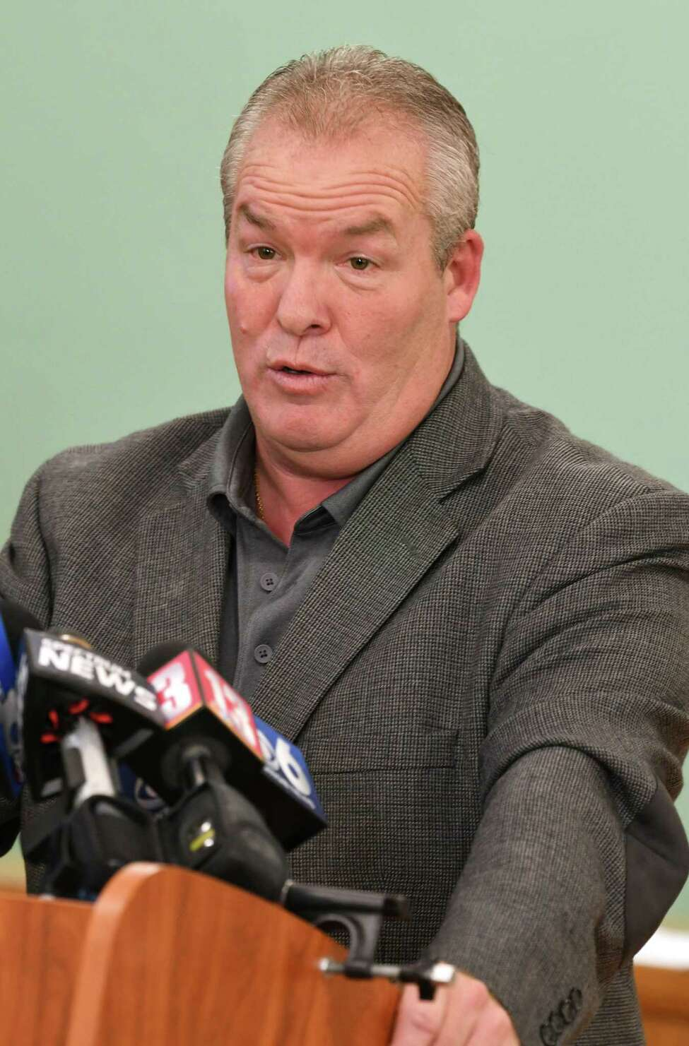 Cohoes Mayor Shawn Morse holds a press conference to speak out about the latest allegations and what's been going on with his family's life at Cohoes City Hall on Monday, Sept. 17, 2018 in Cohoes, N.Y. Morse said he doesn't plan on stepping down from his job. (Lori Van Buren/Times Union)