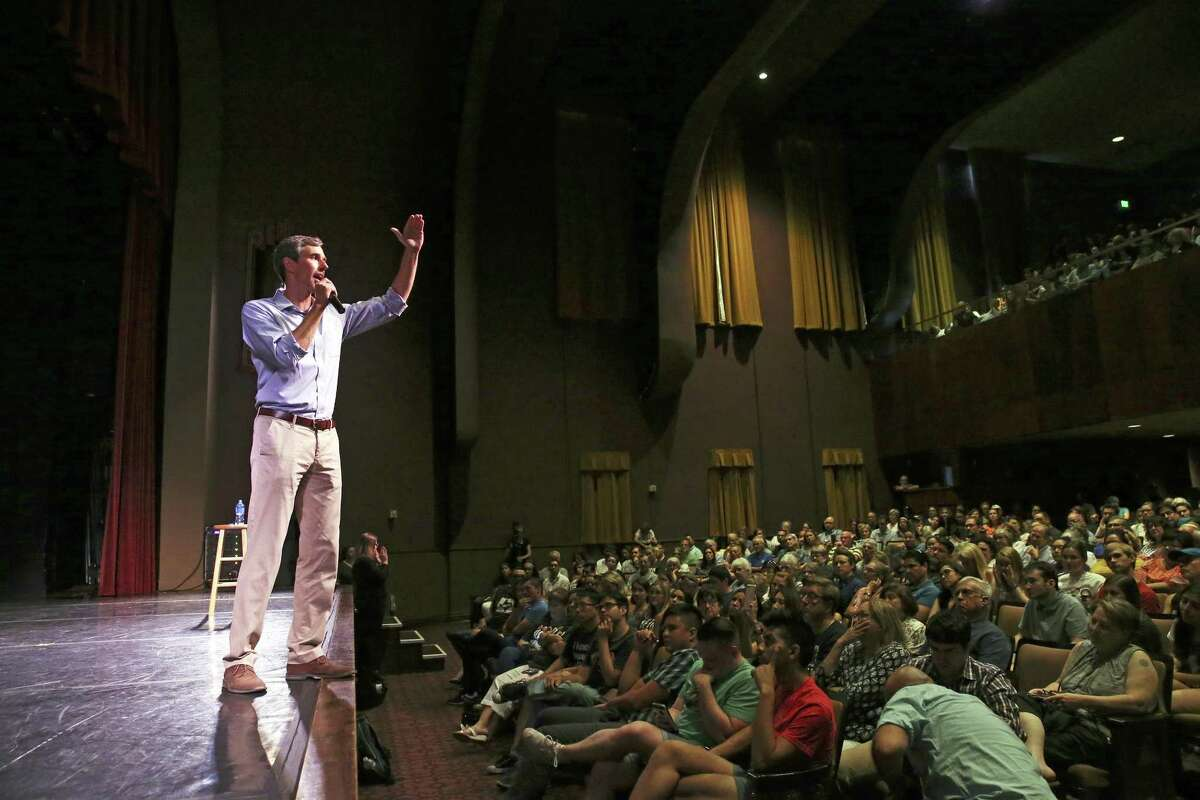 U.S. Congressman Beto O'Rourke hosts a campaign rally for educators at Carver Community Cultural Center on August 7, 2018.
