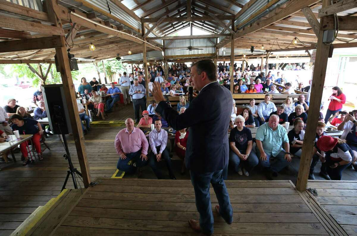 Senator Ted Cruz speaks to people attending his rally at Tin Roof BBQ Saturday, Sept. 8, 2018, in Humble, Texas.