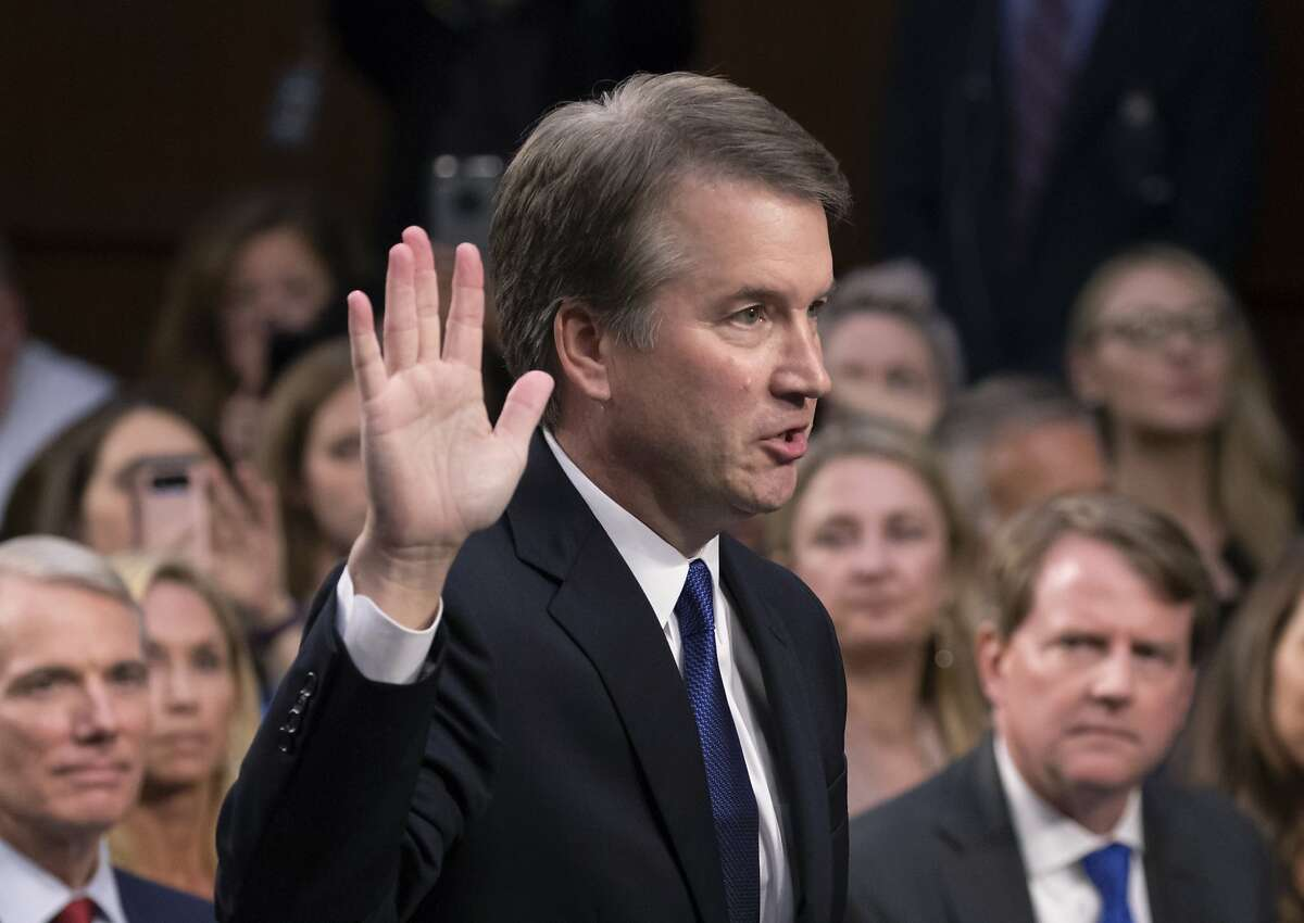 In this Sept. 4, 2018, file photo, President Trump's Supreme Court nominee, Brett Kavanaugh, is sworn in before the Senate Judiciary Committee on Capitol Hill in Washington.