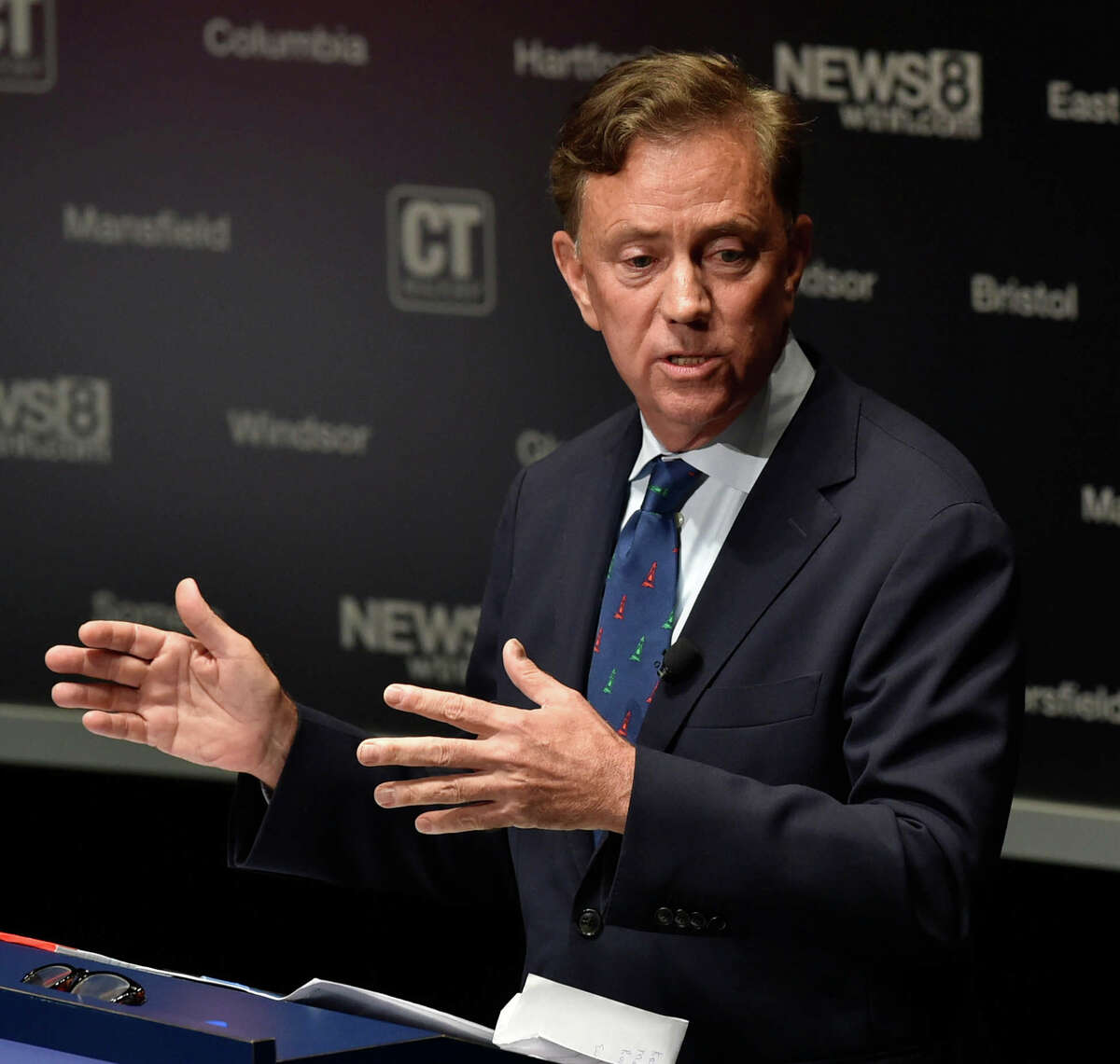 New Haven, Connecticut -Monday, September 17 2018: Democratic gubernatorial candidate Ned Lamont during a debate against Republican gubernatorial candidate Bob Stefanowski Monday evening at the Shubert Theatre in New Haven. The gubernatorial debate is sponsored by the Connecticut Association of Realtors in partnership with WTNH News 8.