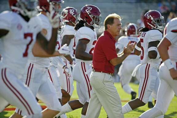 Alabama coach Nick Saban has reason to applaud his top-ranked team, which is averaging a national-best 57 points through its first three games and will host Texas A&M on Saturday.