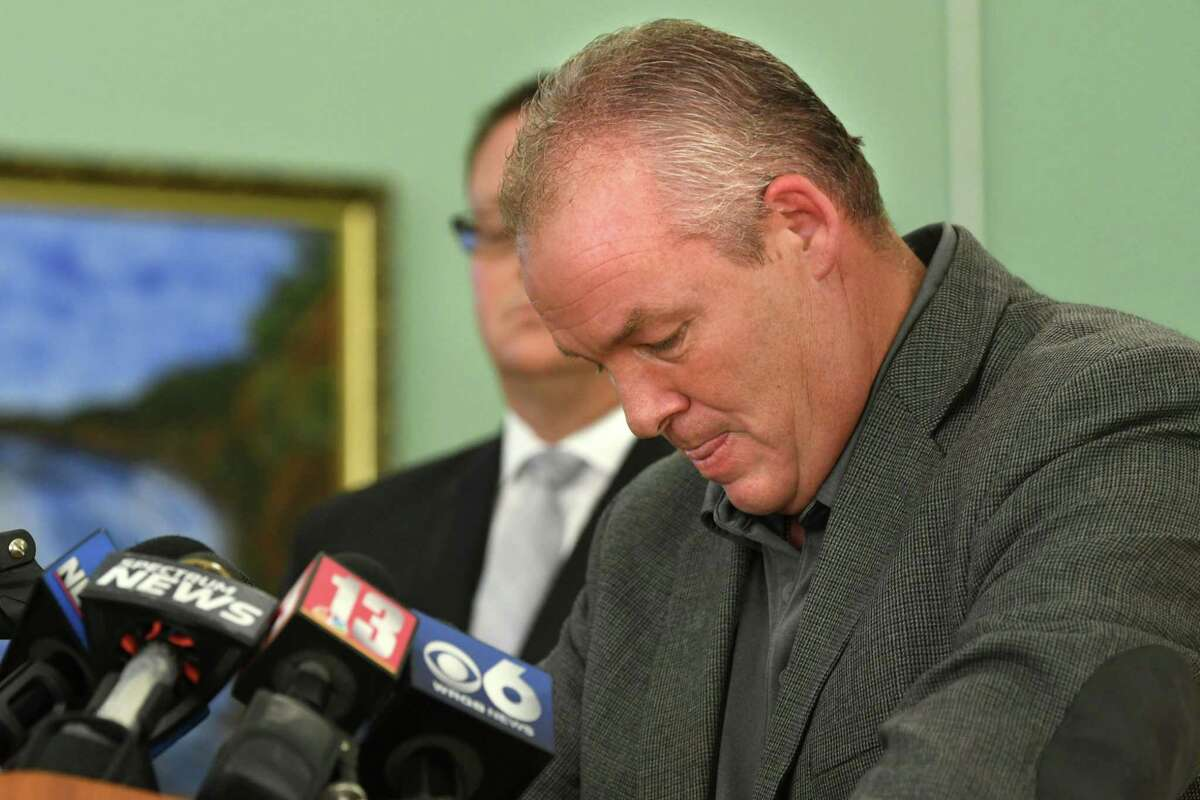Cohoes Mayor Shawn Morse gets choked up and composes himself as he holds a press conference to speak out about the latest allegations and what's been going on with his family's life at Cohoes City Hall on Monday, Sept. 17, 2018 in Cohoes, N.Y. Morse said he doesn't plan on stepping down from his job. (Lori Van Buren/Times Union)