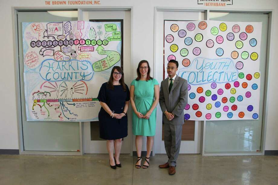 From left to right, Megan Elizabeth Davis, Harris County Youth Collective Program Manager, Executive Director Kelly Sowards and Dieter Cantu, Program Manager, stand in front of a chart that illustrates typical life paths of youth in both the juvenile justice and child protective systems at the HCYC press conference Monday, Sept. 17, 2018. Photo: Photo Courtesy Of Christopher Roja