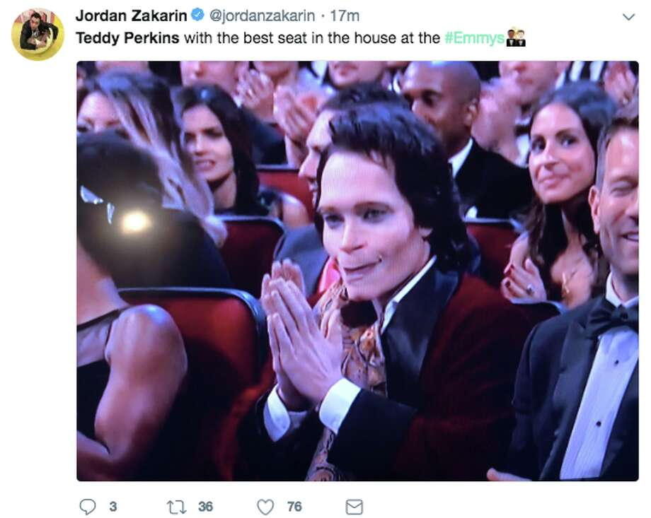 "Teddy Perkins, a villainous character from the second season of ""Atlanta"" on FX, appeared front-row at the 70th Annual Emmy Awards on Monday, Sept. 17, 2018.  Perkins was played by ""Atlanta"" creator Donald Glover. Photo: Twitter Screen Grab"
