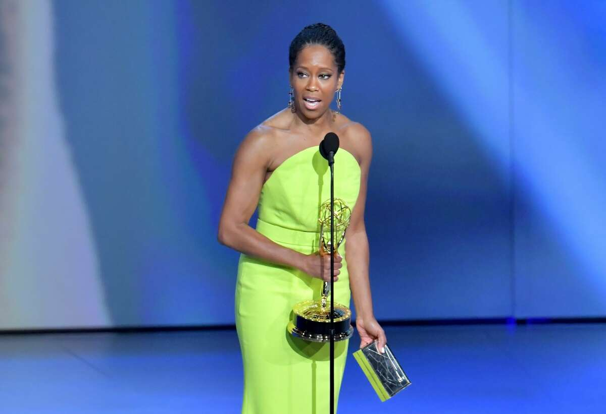 Regina King accepts the award for Outstanding Lead Actress in a Limited Series or Movie onstage during the 70th Emmy Awards. King was the first performer of color to win an Emmy in a year where issues around diversity took center stage.