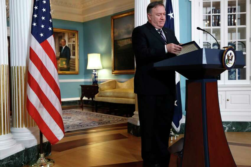 Secretary of State Mike Pompeo finishes speaking about refugees as he makes a statement to the media Monday, Sept. 17, 2018, at the State Department in Washington. (AP Photo/Jacquelyn Martin)