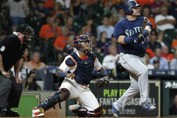 Daniel Vogelbach gives the Mariners a big lift and deflates the Astros by hitting a grand slam off Hector Rondon during the eighth inning to wipe out a 1-0 deficit.