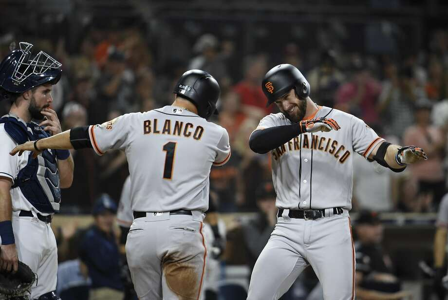 Evan Longoria, now the team leader in homers with just 16, hit a two-run shot Monday in San Diego to grow the Giants' lead over the Padres. He has 12 homers on the road and four at home. Photo: Denis Poroy / Getty Images