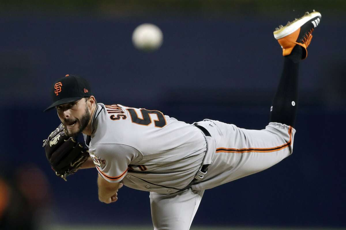 San Francisco Giants starting pitcher Andrew Suarez works against a San Diego Padres batter during the first inning of a baseball game Monday, Sept. 17, 2018, in San Diego.