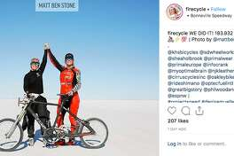 Denise Mueller-Korenek set the human bicycle speed record at 183.9 MPH at Utah's Bonneville Salt Flats on Sunday.