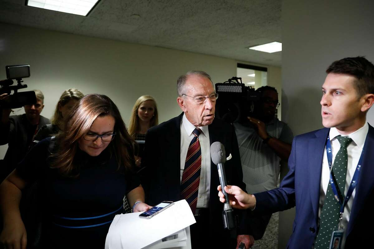 Sen. Chuck Grassley (R-IA) speaks with reporters about Supreme Court nominee Brett Kavanaugh on Capitol Hill September 18, 2018 in Washington, DC. Senate Majority Leader Mitch McConnell has announced a hearing before the Judiciary Committee with Kavanaugh and his accuser, Christine Blasey Ford, next Monday.